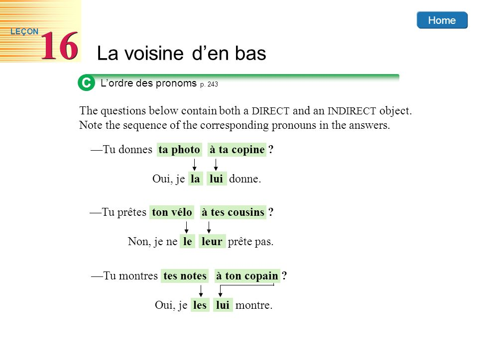 Home La voisine den bas 16 LEÇON C Lordre des pronoms p. 243 The questions below contain both a DIRECT and an INDIRECT object. Note the sequence of th