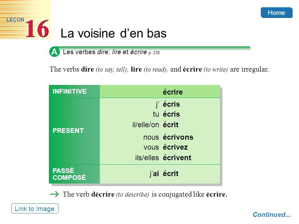 Home La voisine den bas 16 LEÇON A Les verbes dire, lire et écrire p.