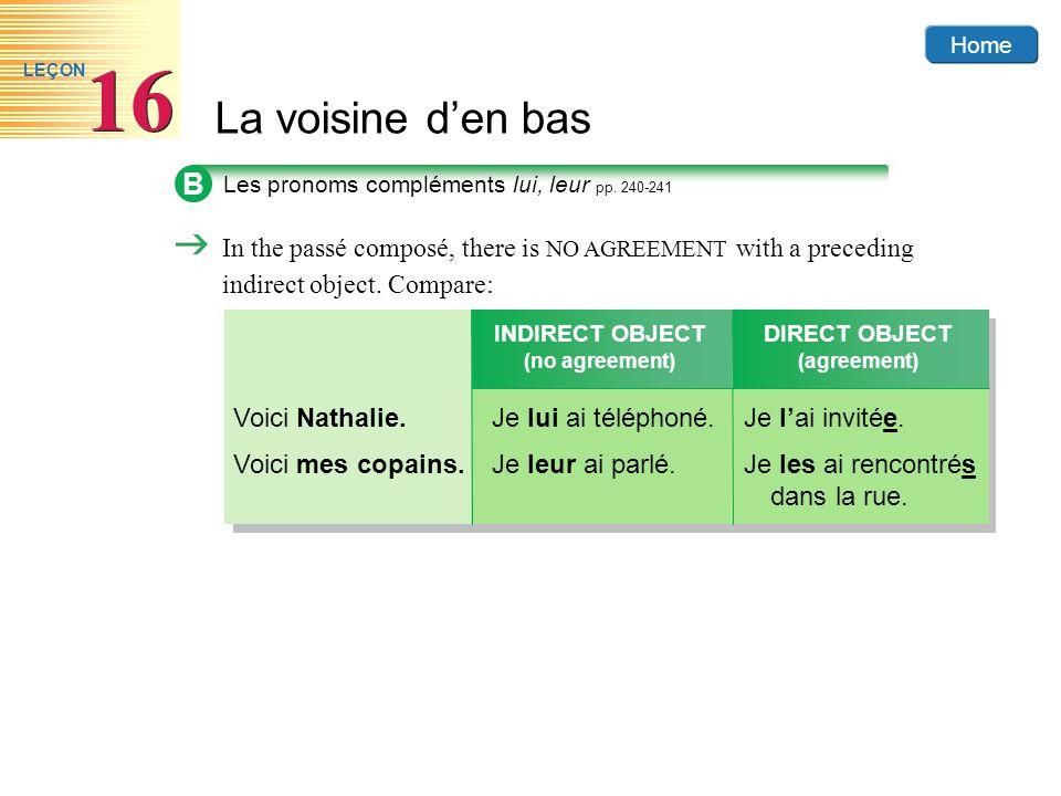 Home La voisine den bas 16 LEÇON B Les pronoms compléments lui, leur pp.