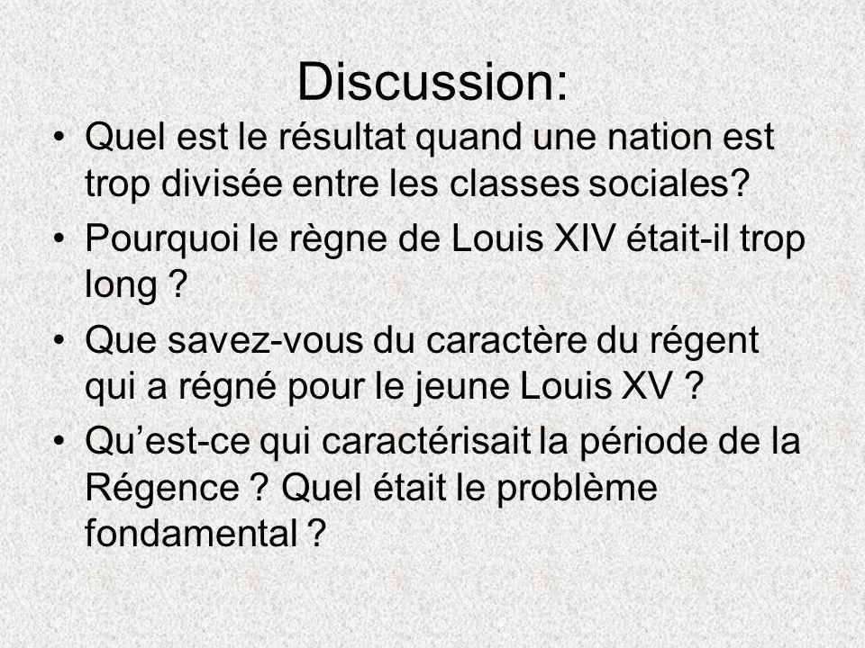 Discussion: Quel est le résultat quand une nation est trop divisée entre les classes sociales? Pourquoi le règne de Louis XIV était-il trop long ? Que