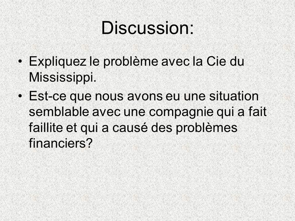 Discussion: Expliquez le problème avec la Cie du Mississippi. Est-ce que nous avons eu une situation semblable avec une compagnie qui a fait faillite