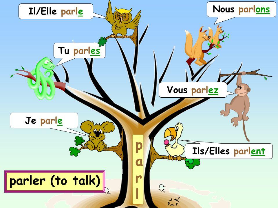 Je parle p a r l Tu parles Vous parlez Nous parlons Il/Elle parle Ils/Elles parlent parler (to talk)