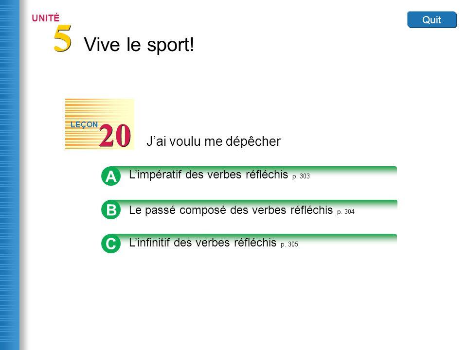 Vive le sport! 5 5 UNITÉ Quit Jai voulu me dépêcher 20 LEÇON B Le passé composé des verbes réfléchis p. 304 A Limpératif des verbes réfléchis p. 303 C