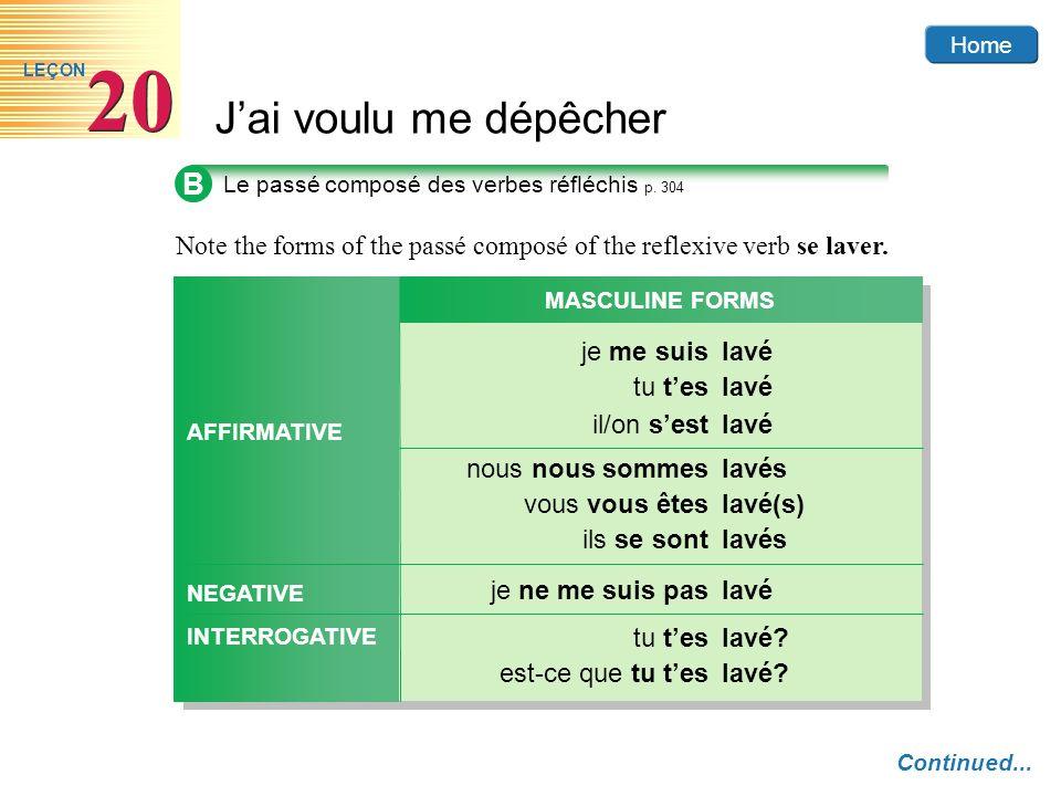 Home Jai voulu me dépêcher 20 LEÇON B Le passé composé des verbes réfléchis p. 304 Continued... Note the forms of the passé composé of the reflexive v