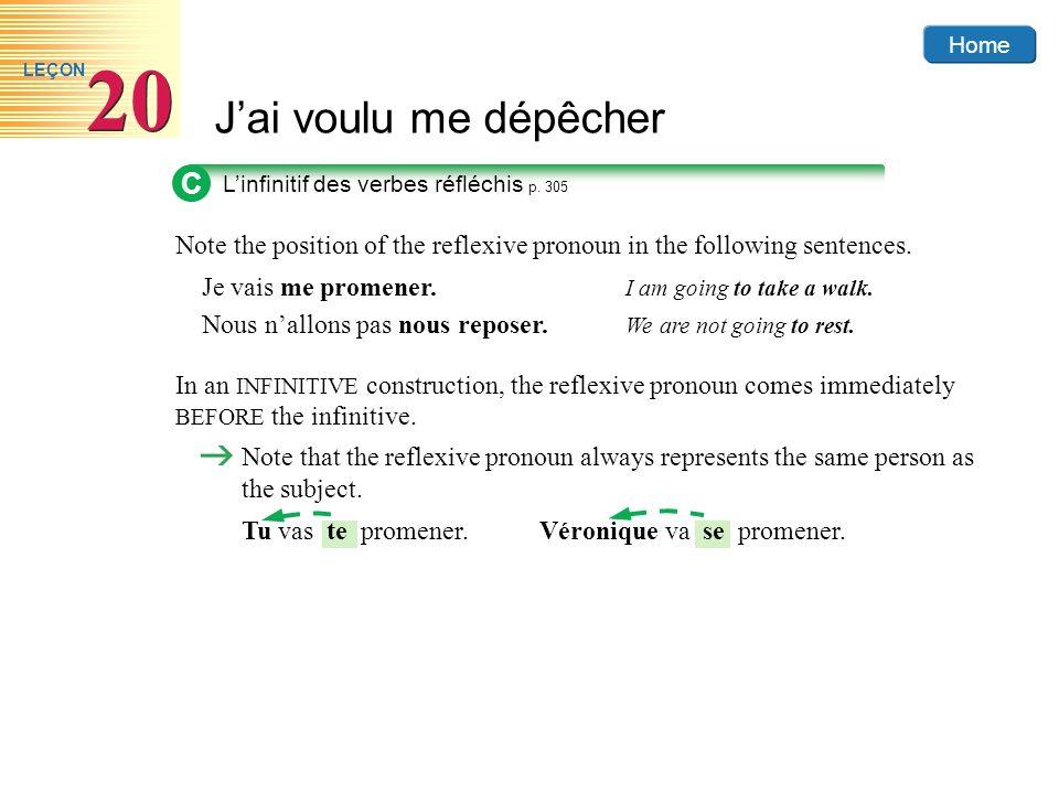 Home Jai voulu me dépêcher 20 LEÇON C Linfinitif des verbes réfléchis p. 305 Note the position of the reflexive pronoun in the following sentences. Je