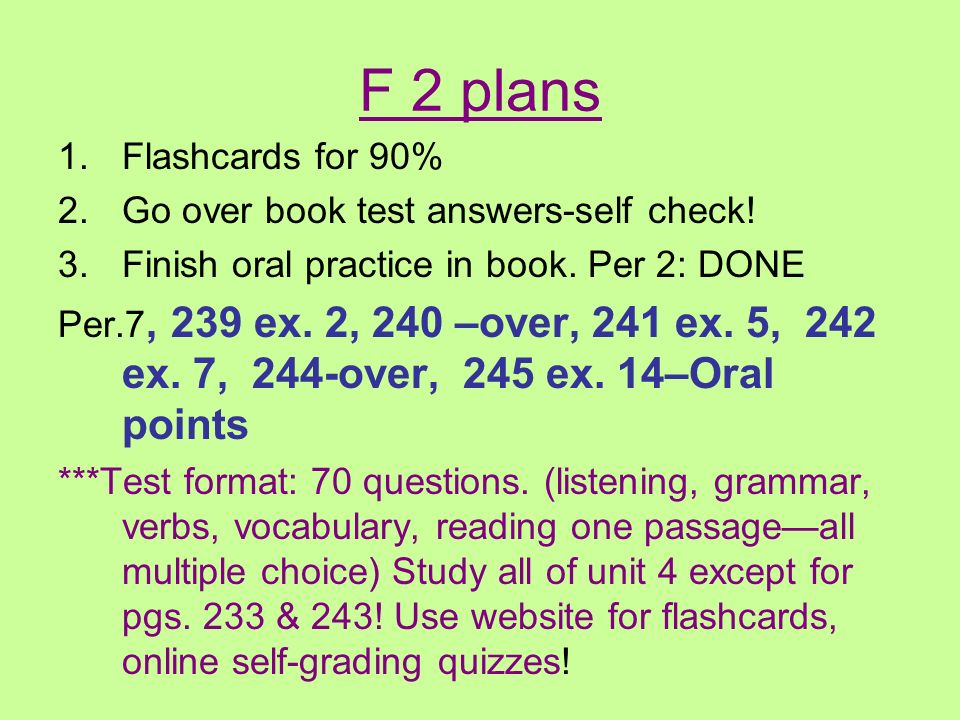 F 2 book test answers-Pg.248-9 (1-4) EX. 1 1. assister à 2.