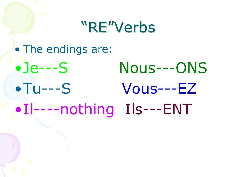 REVerbs The endings are: Je---S Nous---ONS Tu---S Vous---EZ Il----nothing Ils---ENT