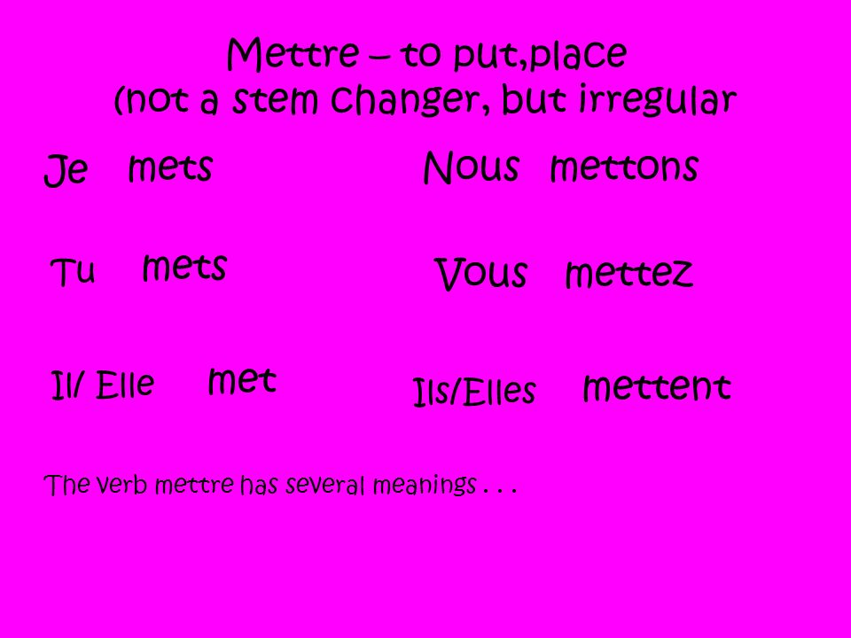 Mettre – to put,place (not a stem changer, but irregular Je mets Tu mets Il/ Elle met Nousmettons Vousmettez Ils/Elles mettent The verb mettre has several meanings...