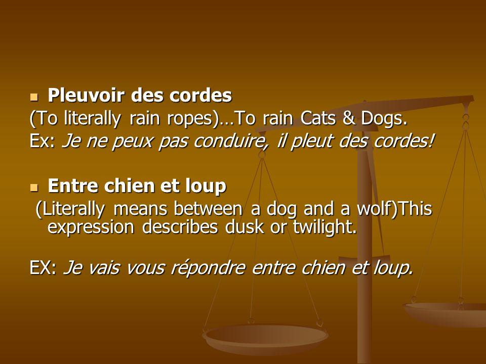 Pleuvoir des cordes Pleuvoir des cordes (To literally rain ropes)…To rain Cats & Dogs. Ex: Je ne peux pas conduire, il pleut des cordes! Entre chien e
