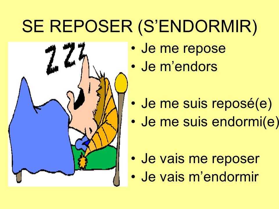 SE REPOSER (SENDORMIR) Je me repose Je mendors Je me suis reposé(e) Je me suis endormi(e) Je vais me reposer Je vais mendormir