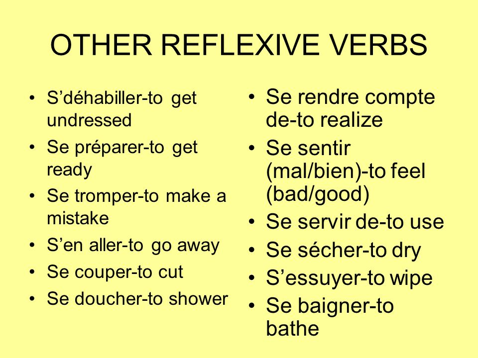 OTHER REFLEXIVE VERBS Sdéhabiller-to get undressed Se préparer-to get ready Se tromper-to make a mistake Sen aller-to go away Se couper-to cut Se douc