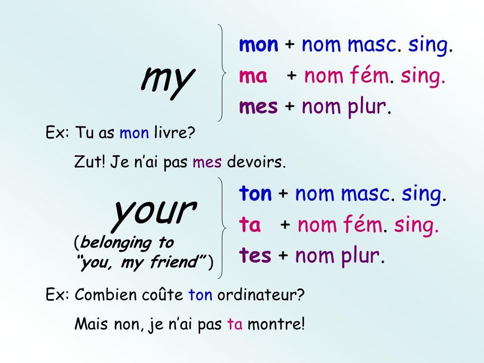 mon + nom masc. sing. ma + nom fém. sing. mes + nom plur.