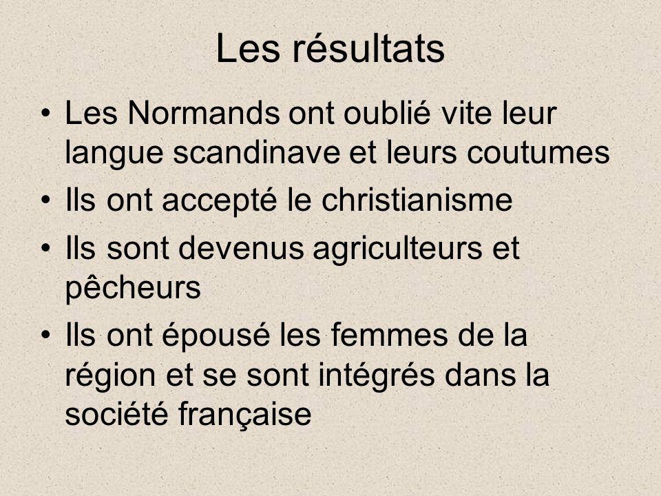 Les résultats Les Normands ont oublié vite leur langue scandinave et leurs coutumes Ils ont accepté le christianisme Ils sont devenus agriculteurs et pêcheurs Ils ont épousé les femmes de la région et se sont intégrés dans la société française