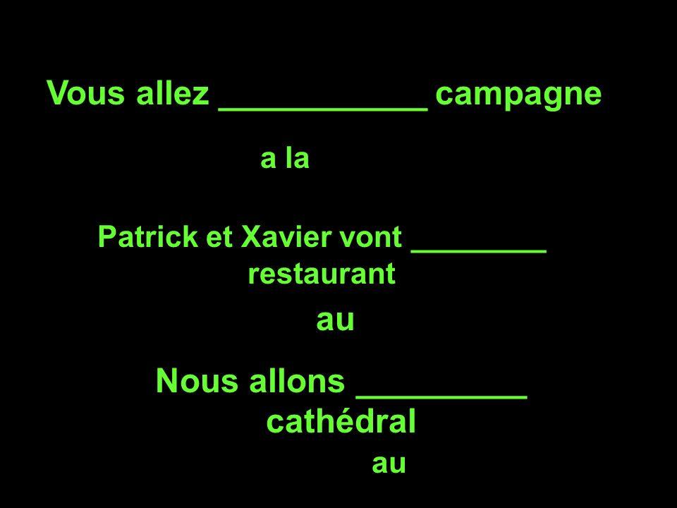 Vous allez ___________ campagne a la Patrick et Xavier vont ________ restaurant au Nous allons _________ cathédral au