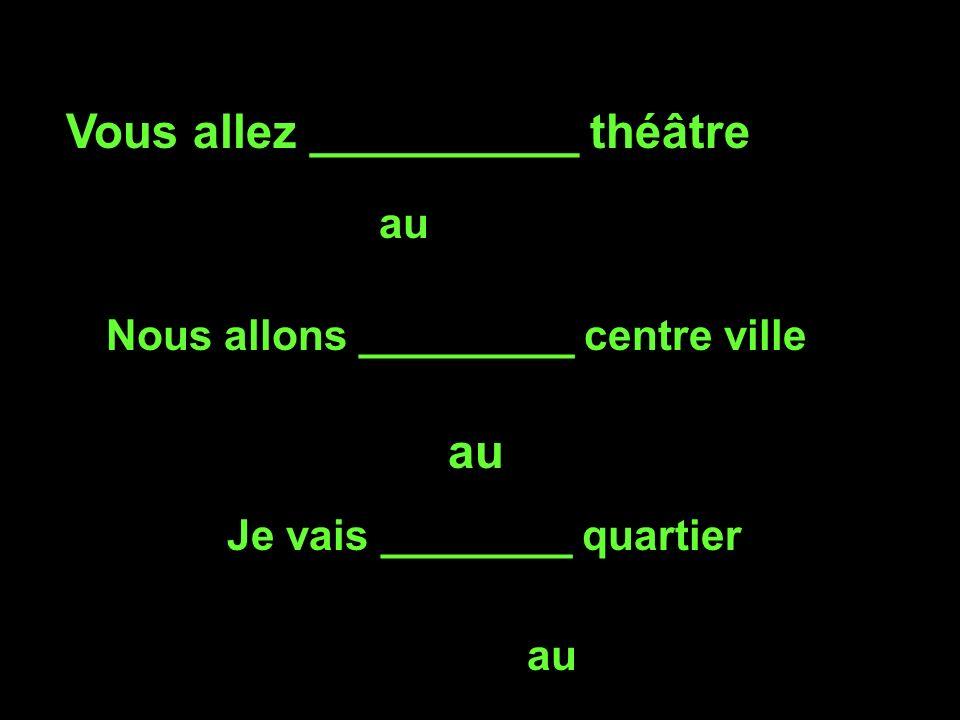 Vous allez __________ théâtre au Nous allons _________ centre ville au Je vais ________ quartier au