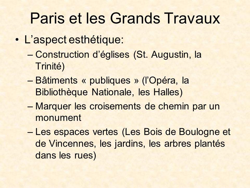 Paris et les Grands Travaux Laspect esthétique: –Construction déglises (St.