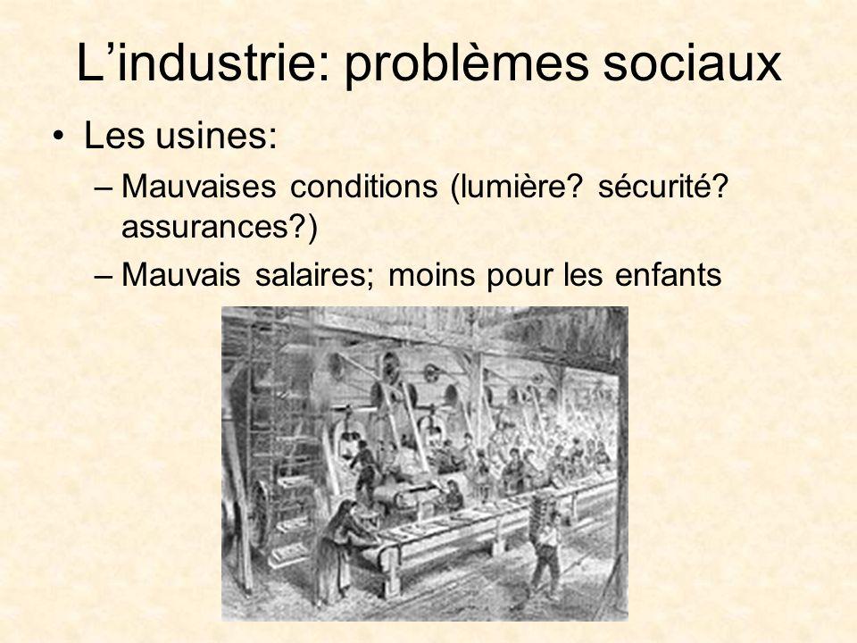 Lindustrie: problèmes sociaux Les usines: –Mauvaises conditions (lumière.