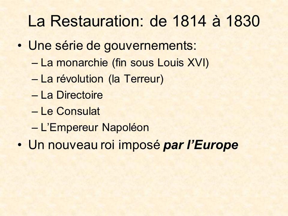 La Restauration: de 1814 à 1830 Une série de gouvernements: –La monarchie (fin sous Louis XVI) –La révolution (la Terreur) –La Directoire –Le Consulat –LEmpereur Napoléon Un nouveau roi imposé par lEurope