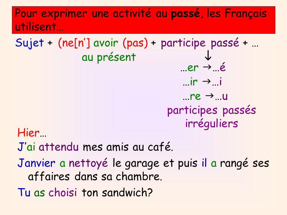 Pour exprimer une activité au passé, les Français utilisent… Sujet +(ne[n] avoir (pas) + au présent participe passé + … …er …é …ir …i …re …u participe