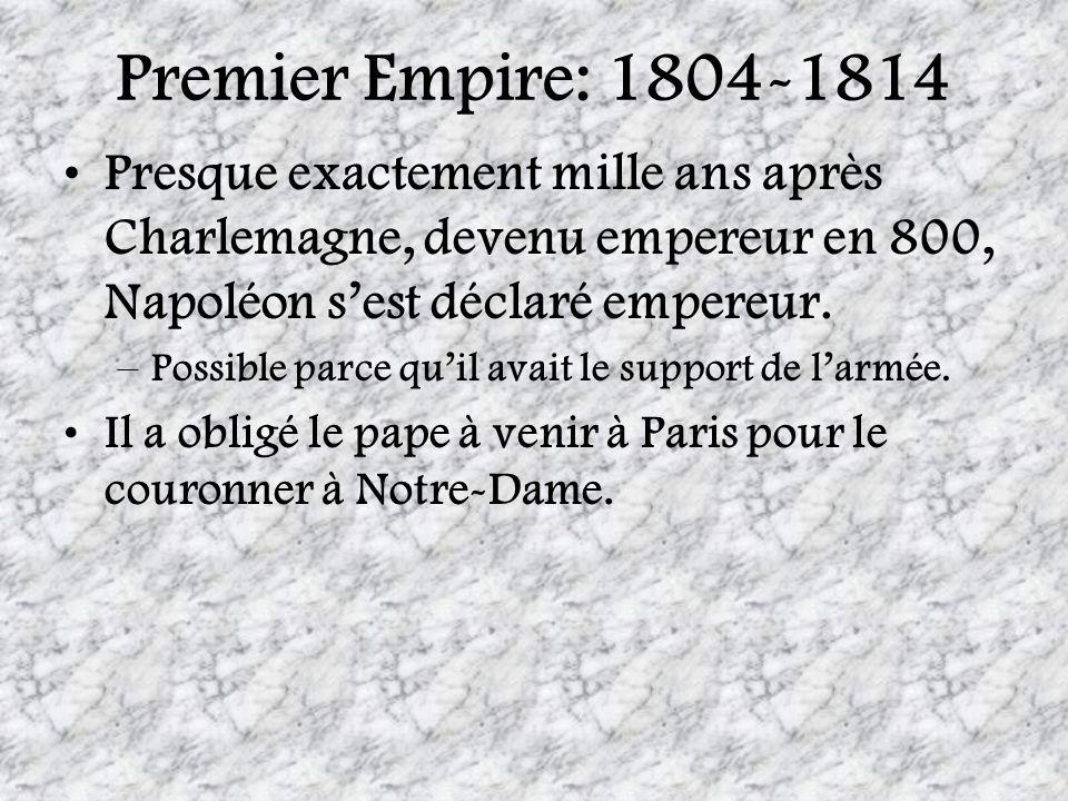 Premier Empire: 1804-1814 Presque exactement mille ans après Charlemagne, devenu empereur en 800, Napoléon sest déclaré empereur. –Possible parce quil