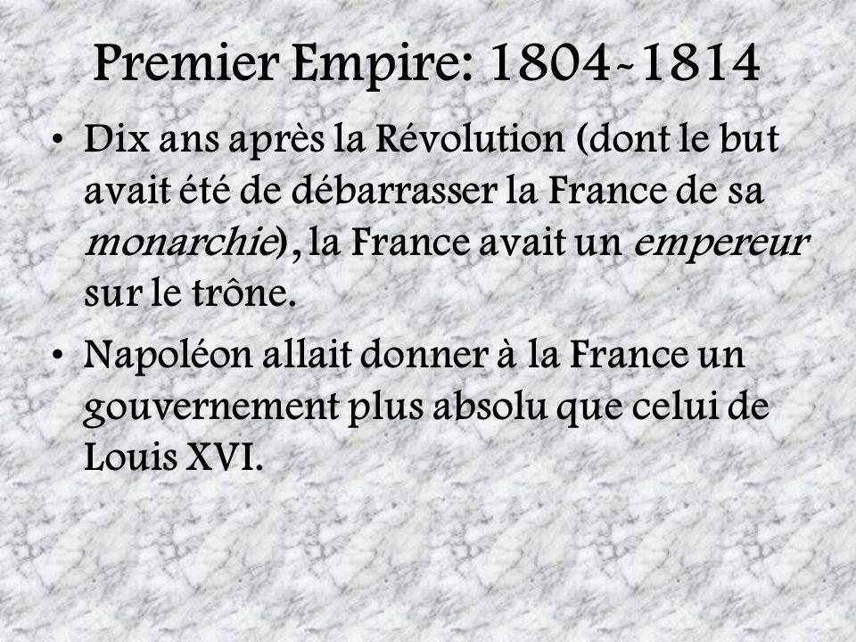 Premier Empire: 1804-1814 Dix ans après la Révolution (dont le but avait été de débarrasser la France de sa monarchie), la France avait un empereur su