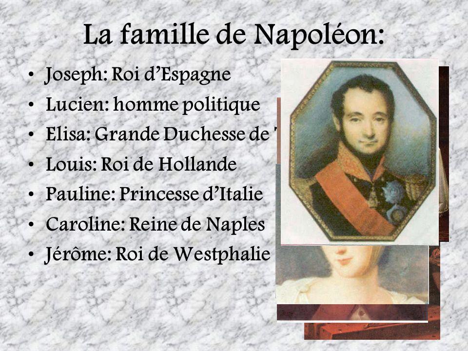 La famille de Napoléon: Joseph: Roi dEspagne Lucien: homme politique Elisa: Grande Duchesse de Toscan Louis: Roi de Hollande Pauline: Princesse dItali