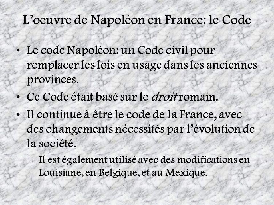 Loeuvre de Napoléon en France: le Code Le code Napoléon: un Code civil pour remplacer les lois en usage dans les anciennes provinces. Ce Code était ba