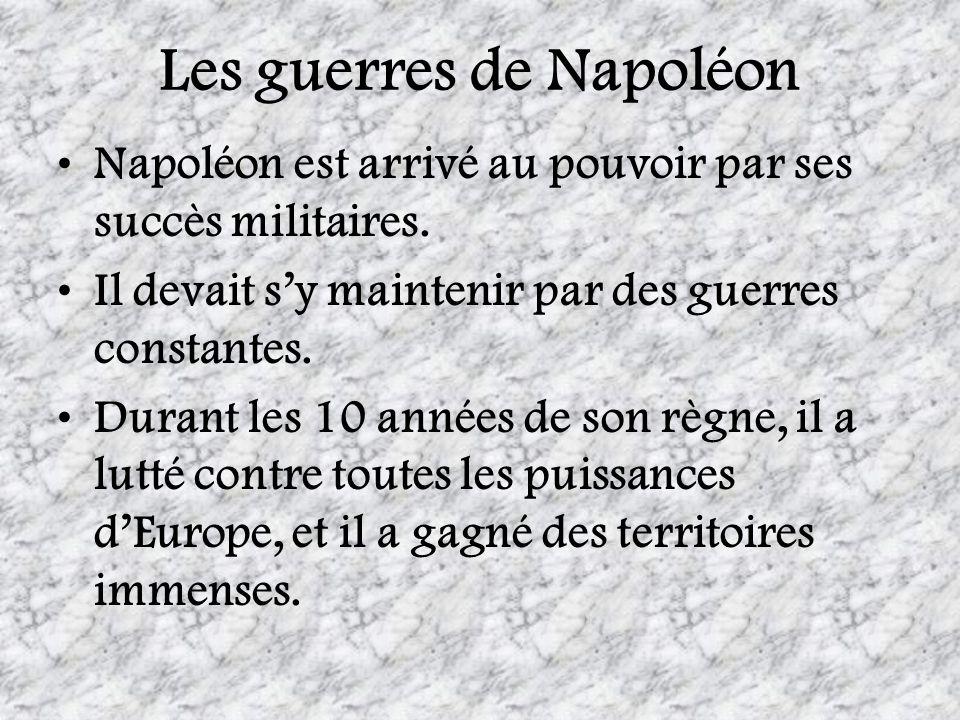 Les guerres de Napoléon Napoléon est arrivé au pouvoir par ses succès militaires. Il devait sy maintenir par des guerres constantes. Durant les 10 ann