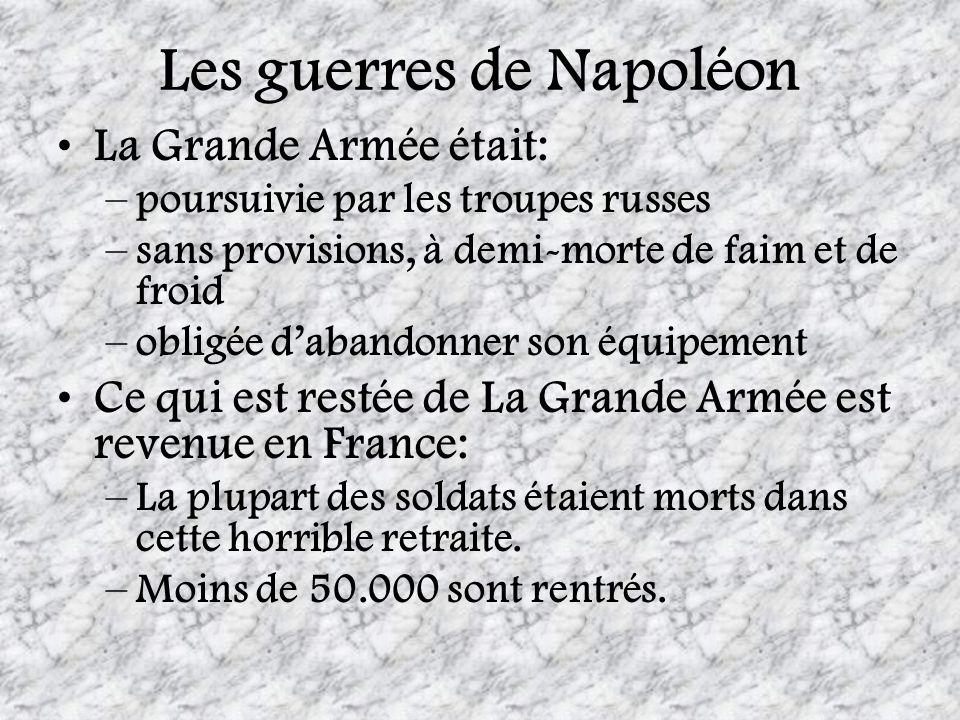 Les guerres de Napoléon La Grande Armée était: –poursuivie par les troupes russes –sans provisions, à demi-morte de faim et de froid –obligée dabandon