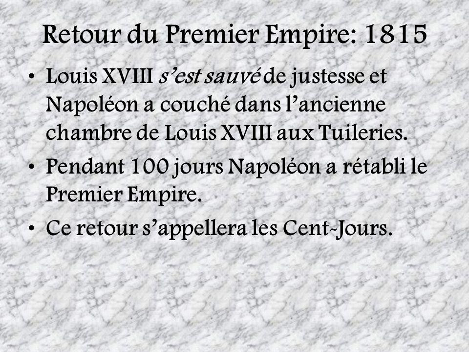 Retour du Premier Empire: 1815 Louis XVIII sest sauvé de justesse et Napoléon a couché dans lancienne chambre de Louis XVIII aux Tuileries. Pendant 10