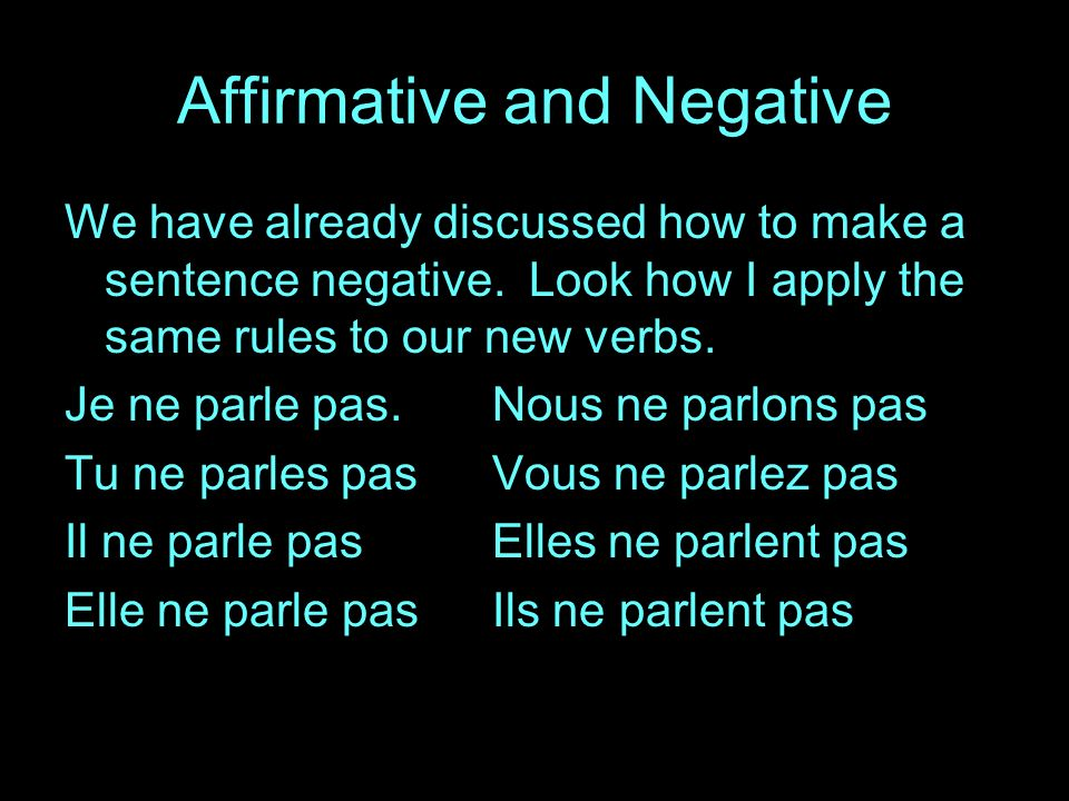 Affirmative and Negative We have already discussed how to make a sentence negative.