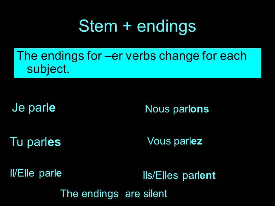Stem + endings The endings for –er verbs change for each subject.