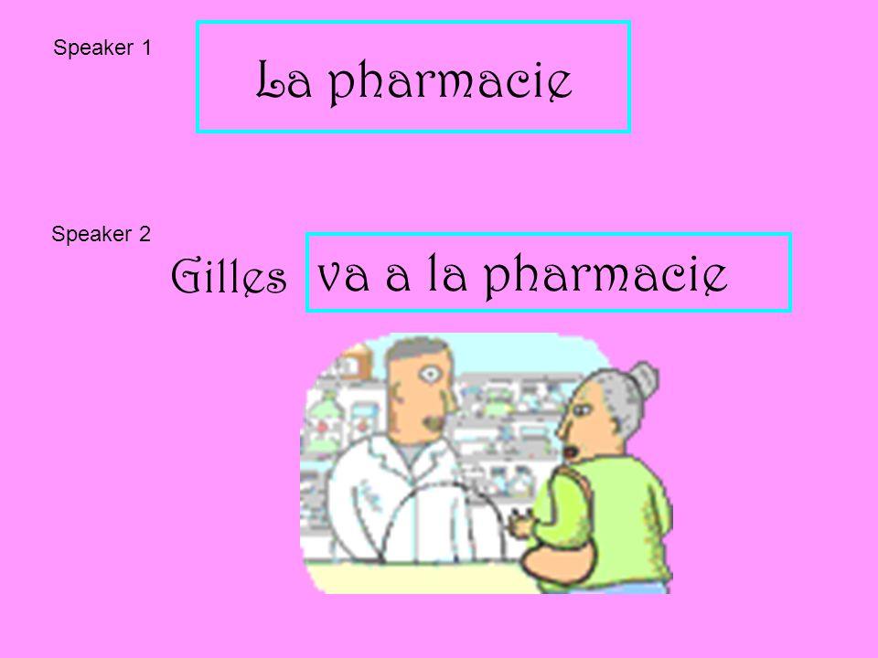 La pharmacie Speaker 1 Speaker 2 Gilles va a la pharmacie