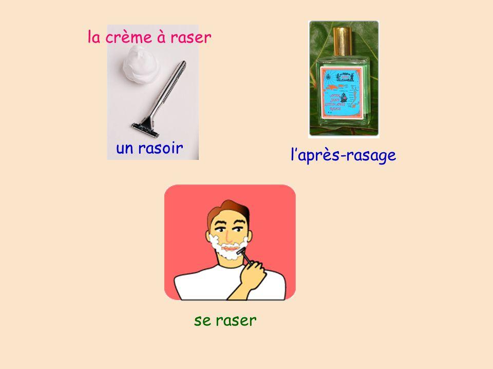 un rasoir se raser laprès-rasage la crème à raser