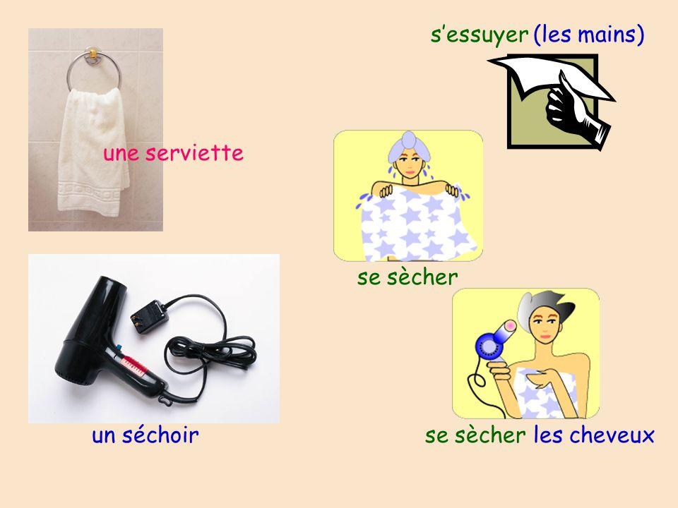 une serviette se sècher un séchoir se sècher les cheveux sessuyer (les mains)