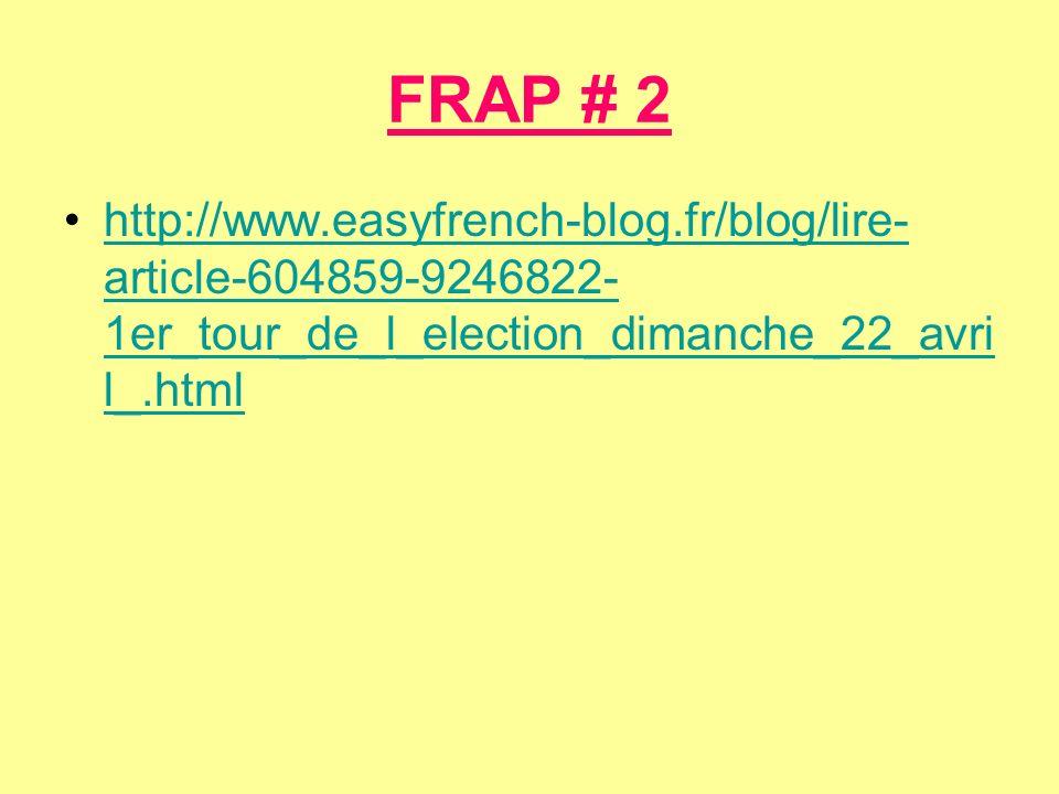 FRAP # 2 http://www.easyfrench-blog.fr/blog/lire- article-604859-9246822- 1er_tour_de_l_election_dimanche_22_avri l_.htmlhttp://www.easyfrench-blog.fr/blog/lire- article-604859-9246822- 1er_tour_de_l_election_dimanche_22_avri l_.html
