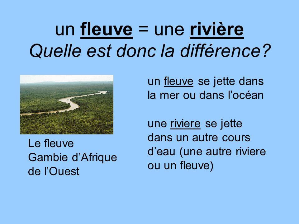 un fleuve = une rivière Quelle est donc la différence? Le fleuve Gambie dAfrique de lOuest un fleuve se jette dans la mer ou dans locéan une riviere s