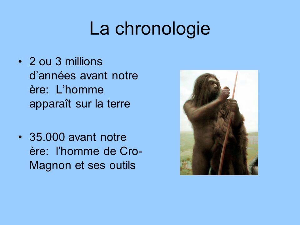 La chronologie 2 ou 3 millions dannées avant notre ère: Lhomme apparaît sur la terre 35.000 avant notre ère: lhomme de Cro- Magnon et ses outils
