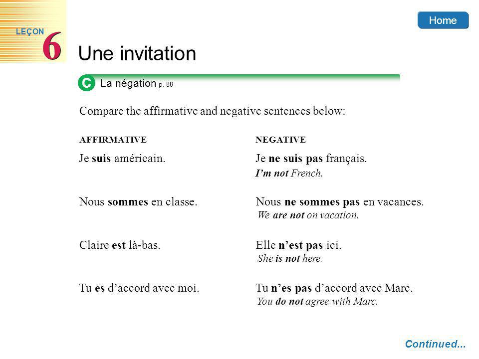 Compare the affirmative and negative sentences below: AFFIRMATIVENEGATIVE Home C La négation p.