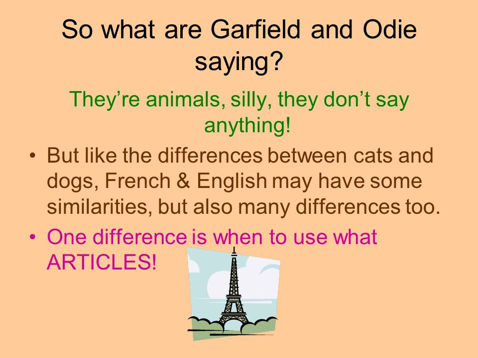 So what are Garfield and Odie saying? Theyre animals, silly, they dont say anything! But like the differences between cats and dogs, French & English