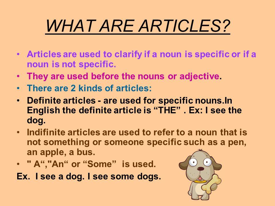 USE LE, L, LA, LES FOR: 1.Talking about nouns in a general sense.
