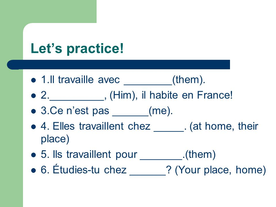 What are STRESS pronouns for. 1. To reinforce or STRESS a subject pronoun: MOI, Je parle anglais.