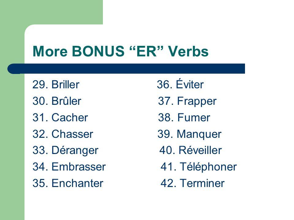 More BONUS ER Verbs 15. Porter 22. Traverser 16.