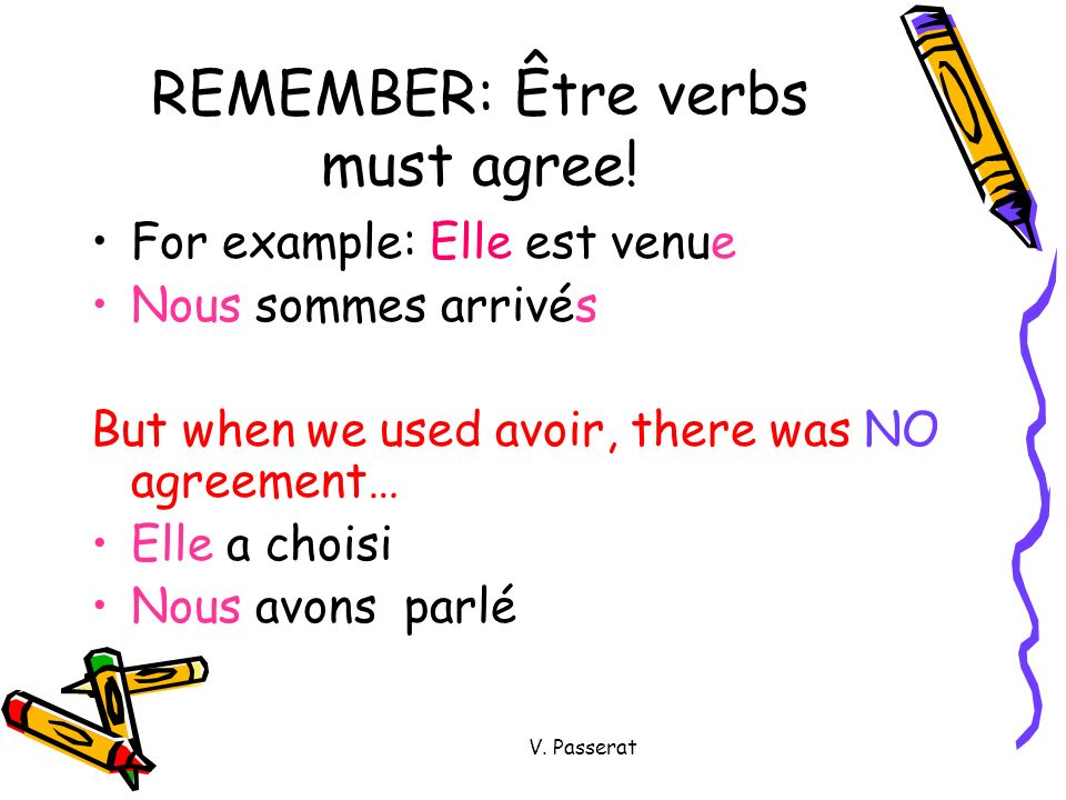 Another way to remember ÊTRE is the ÊTRE song! (to the tune of the ABC song) Allé Arrivé Descendu Devenu Entré Monté Mort Né Parti Passé Rentré Resté