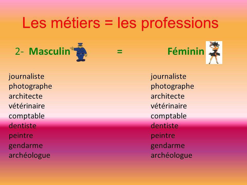 Les métiers = les professions 2- Masculin = Féminin journaliste photographe architecte vétérinaire comptable dentiste peintre gendarme archéologue jou