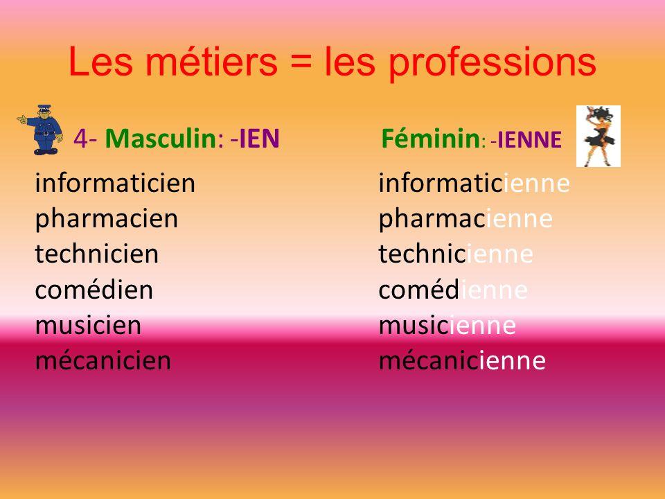 Les métiers = les professions 4- Masculin: -IEN Féminin : - IENNE informaticien pharmacien technicien comédien musicien mécanicien informaticienne pha