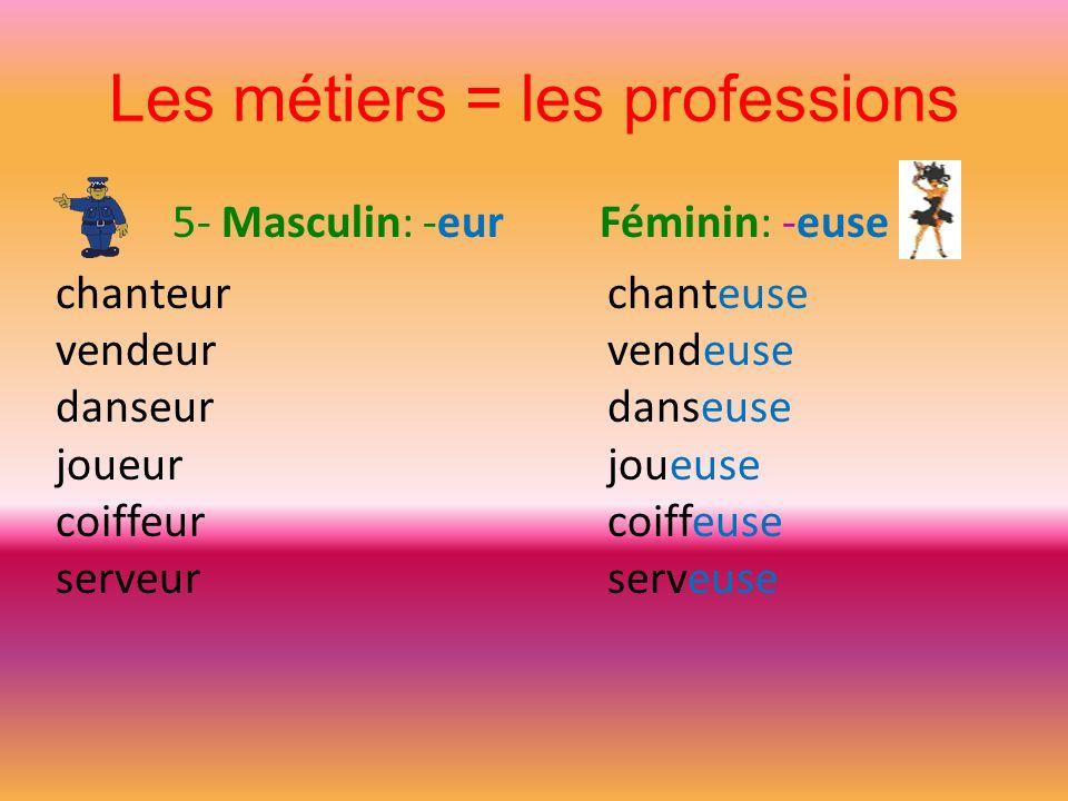 Les métiers = les professions 5- Masculin: -eur Féminin: -euse chanteur vendeur danseur joueur coiffeur serveur chanteuse vendeuse danseuse joueuse co