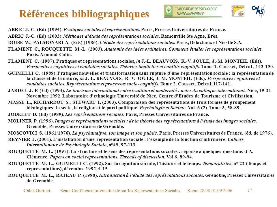 8ème Conférence Internationale sur les Représentations Sociales. Rome 28/08-01/09/2006Chloé Gurrieri. 17 Références bibliographiques ABRIC J.-C. (Ed)
