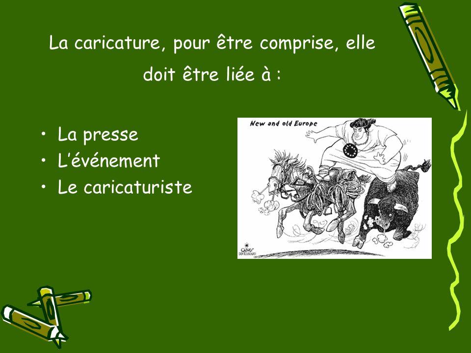 La caricature, pour être comprise, elle doit être liée à : La presse Lévénement Le caricaturiste