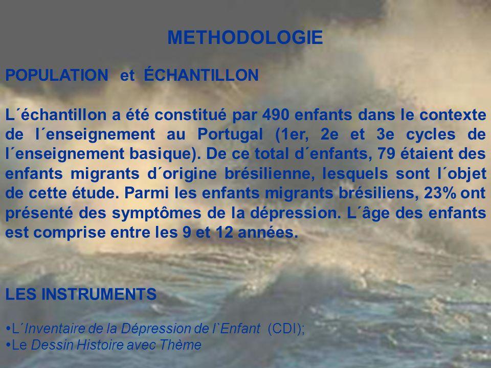 METHODOLOGIE POPULATION et ÉCHANTILLON L´échantillon a été constitué par 490 enfants dans le contexte de l´enseignement au Portugal (1er, 2e et 3e cyc
